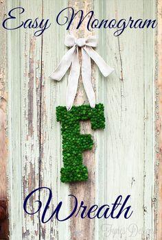 #DIY Easy Monogram Wreath - Tutorial #crafts