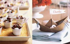 Martha Stewart Weddings Good Things Candy Pail Favors and Martha Stewart Weddings Paper Boat Placesettings