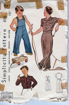 ae65ad99af3 simplicity 4116 toddler overalls pattern vintage 1940 s Vintage Sewing  Patterns