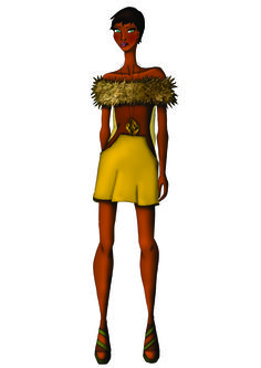 Look 5 - Os pêlos entram para se trabalhar peles, formas e elementos dos animais da savana. Destaque para as cores, que também lembram o ambiente típico como o pôr-do-sol africano, com suas cores quentes.