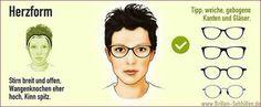 Herzförmiges Gesicht mit Brille