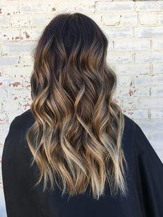 Brown hair, brown balayage, blonde highlights, loose waves, hair, haircut