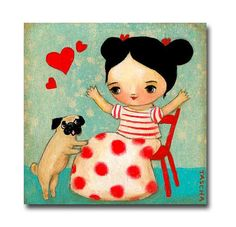 Your place to buy and sell all things handmade Acrylic Painting Canvas, Canvas Art, Pug Quotes, Pug Cartoon, Pugs And Kisses, Pug Art, Pug Love, Mans Best Friend, Art Pictures