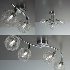 LED Deckenleuchte Schwenkbar Inkl 3 X 35W Leuchtmittel G9 Mit Modernen Glaskugeln IP20