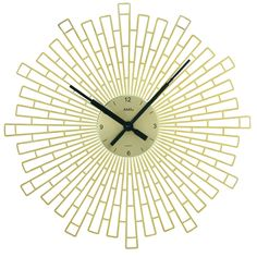 Modern wall clock with a quartz-movement. The clock-face is made of metal and the design around it is made of plastic …