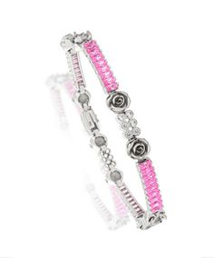 White Gold Daisy Bracelet by Jenna Clifford. Mastercrafted in white gold and set with pink and white cubic zirconias. Jenna Clifford, Solid Gold, White Gold, Daisy Bracelet, Jewelry Accessories, Fashion Accessories, Pretty In Pink, Diamond Jewelry, Renaissance