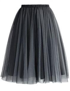 slate grey tulle skirt