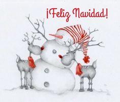 Feliz Navidad, muñeco de nieve y renos con bufandas y gorro rojos