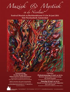 Abstract Paint Artist Willem Claassen. Poster for art and music festival at the Sint Nicolaas church Amsterdam, The Netherlands. Poster design by Boris Claassen (www.borisclaassen.nl)