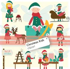 Christmas Kids/Elves at Santas Workshop - Clip art from Cavallet on TeachersNotebook.com -  (32 pages)  - The set includes 32 .png files: - 8 different hand drawn clip art They include blackline edition.