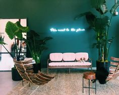 Cult Gaia Pop Up Shop Teal Wall Neon Light Palms