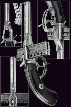 Eight-shot Jarre pinfire pistol, Paris, 19th century.