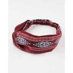 Full Tilt Ethnic Print Headwrap ($4.99) ❤ liked on Polyvore featuring accessories, hair accessories, burgundy, full tilt, head wrap headband, elastic headbands, hair bands accessories and head wrap hair accessories