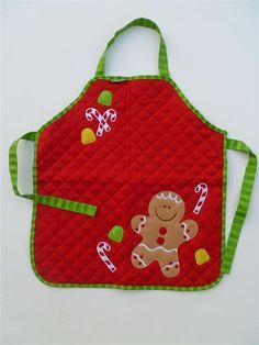 Personalizd Kids Christmas Holiday Apron in Gingerbread Man theme by Stephen Joseph Girls Boys Christmas Aprons, Christmas Sewing, Christmas Gingerbread, Christmas Projects, Christmas Holidays, Sewing Crafts, Sewing Projects, Childrens Aprons, Favorite Christmas Songs