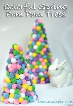 Colorful Spring Pom Pom Trees for Easter.. a great kid friendly craft!