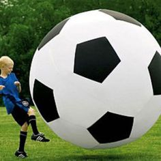 Enjoy the world's most popular game by challenging your friends to a game with 6 foot tall soccer ball. This huge ball is made from durable black and white vinyl and light in weight when fully inflated allowing kicking up into the air with ease.  http://www.ultimatestock.co.uk/product/6-foot-tall-soccer-ball/