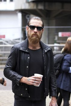 MenStyle - Street Style - Black and Whit Mens Fashion #blackleather #jacket