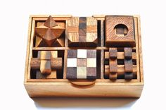 6 Wooden Mini Puzzle Set in Wooden Box These 6 Wooden Mini Puzzles come in wood storage box. handicraft from thailand Great for home or Wooden Puzzle Box, Wooden Puzzles, Wooden Boxes, Maze Puzzles, Wood Storage Box, Set Game, Wood Toys, Gifts For Boys, Wood Crafts