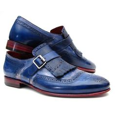 PAUL PARKMAN KILTIE MONKSTRAP SHOES DUAL TONE BLUE LEATHER  Website : www.paulparkman.com