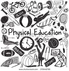 Physical education exercise and gym education chalk handwriting doodle icon of sport tool sign and symbol in white isolated background paper used for presentation title with header text (vector)