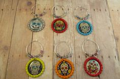 Sugar Skulls Wine Charms  Sugar Skulls Bottlecap by MysticGemz