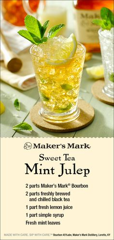 The Maker's Mark Sweet Tea Mint Julep: freshly brewed, chilled black tea helps power this refreshing take on the classic Mint Julep. Sure to delight during, and after, a thrilling day at the races and surprisingly easy to make. Ingredients: 2 parts Make Fancy Drinks, Bar Drinks, Summer Drinks, Cocktail Drinks, Cocktail Recipes, Beverages, Drinks Alcohol Recipes, Whiskey Recipes, Alcoholic Drinks