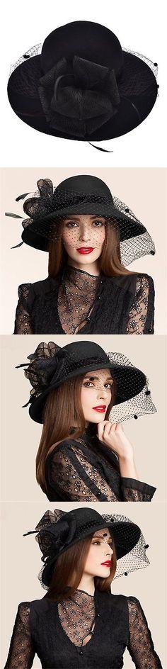 Women Formal Hats: Black Womens Wool Felt Floral Veil Netting Feather Wide Brim Derby Hat A322 -> BUY IT NOW ONLY: $40.85 on eBay!