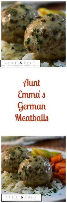 Aunt Emma`s German Meatballs are this simple man`s plan to better eating today. This recipe was given to me by my kitchen culinary legend great Aunt Emma. This is warming, stick to your ribs kind of food for these cooler months! Recipe on my blog www.chileandsalt.com.