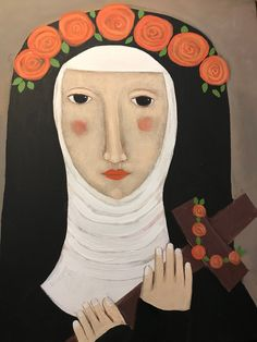 inch archival print on matte paper . Printed with vibrant light-fast archival inks . Print will have a generous white border. Signed and titled by the artist Rose Walton on the reverse. St Rose Of Lima, Primitive Folk Art, Naive Art, Catholic, My Etsy Shop, Artwork, Painting, Art, Work Of Art