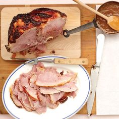 "The meat counter at your market is likely to carry a few different kinds of ham. Choose half a smoked bone-in ham labeled ""fully cooked."" In this recipe a country-style ham would be too dry and salty."