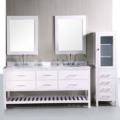 Design Element DEC077B W London 72 In. White Double Bathroom Vanity Set |