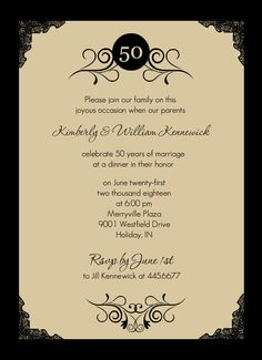 Black and Gold 50th Anniversary Invitation Gold Anniversary 50th