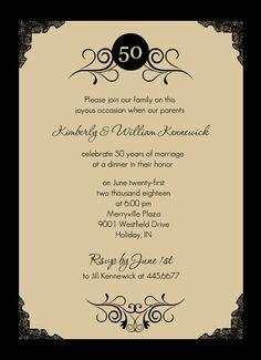 Gold Photo Frame Antique 50th Anniversary Invite Wedding Invitations 60th Parties