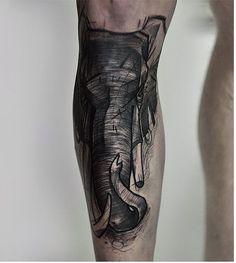 Black sketch elephant head tattoo on the leg Elephant Head Tattoo, Elephant Tattoo Meaning, Elephant Tattoo Design, Tattoo Designs And Meanings, Foot Tattoos, Animal Design, Cute Designs, Instagram, Sketch