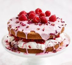 Eloise Shardlow creates a delicate, floral twist on the classic sponge cake. Dried rose petals, rose icing and raspberries make for a showstopping decoration
