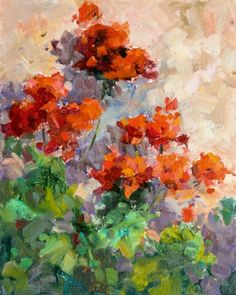 Geraniums -La Casacce , plein air oil by Sharon Lynn Williams, painting by artist Sharon Lynn Williams