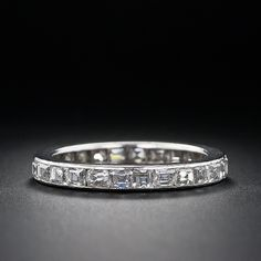 Horizontal emerald cut wedding band - it CAN be done!