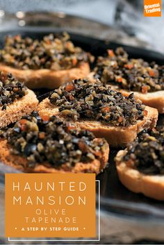 Want an deliciously easy Halloween recipe? There's an app for that. It's Haunted Mansion Olive Tapenade. Just put 1 cup of black olives and a  ½ cup green pimento stuffed olives into a food processor until they are finely mixed. Stir in 1 tsp of garlic salt, ¼ olive oil, and one tbsp of lemon juice and you're done! Serve atop toasted baguettes or alongside crackers or chips.