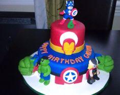 Avengers Birthday Cake Handmade gumpaste figures My cakes 2012