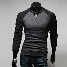 Men's Fashion Casual Slim Fit Long Sleeve T-shirt Tops Tee Shirts 4 Colors on Etsy, $20.29
