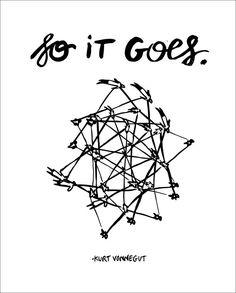 "Kurt Vonnegut Quote // Original Artwork // Digital Print // Literary Art // Typography // Kurt Vonnegut // ""So It Goes"""