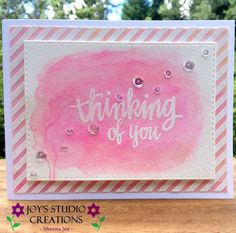 https://flic.kr/p/x51QWo | Thinking Of You Water Color Card | This pretty card was made for the Simon Says Stamp Flickr Challenge #25. I used the following SSS products for this card: Stitched Rectangle Dies, Hand Lettered Winter Wishes Stamp Set and the Diagonal Stripes Background Rubber Stamp. The water coloring was done with Gelatos (Faber Castell) and sequins are from Pretty Pink Posh (Sparkling Clear, 4 mm & 6 mm)  SSSFlickrSSSflickrchallenge#25