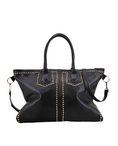 Solid-tone Zipped Studded Tote