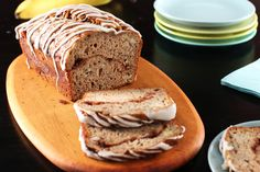 Moist and flavourful banana bread baked with a swirl of cinnamon sugar, then drizzled with a vanilla glaze.