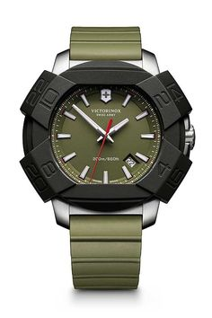 The @victorinoxag Swiss Army Inox shown with khaki green dial and matching rubber strap. More at: http://www.watchtime.com/wristwatch-industry-news/watches/victorinox-swiss-army-watches-anniversaries/2/ #victorinox #watchtime #menswatches