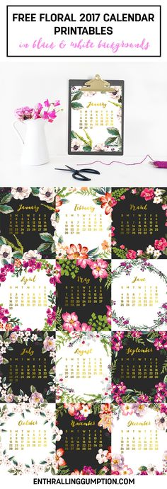 Free Printable 2017 Floral Calendars