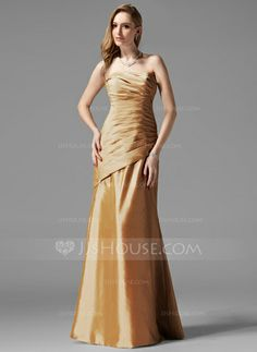 Bridesmaid Dresses - $99.99 - Sheath Strapless Floor-Length Taffeta Bridesmaid Dress With Ruffle (007004109) http://jjshouse.com/Sheath-Strapless-Floor-Length-Taffeta-Bridesmaid-Dress-With-Ruffle-007004109-g4109