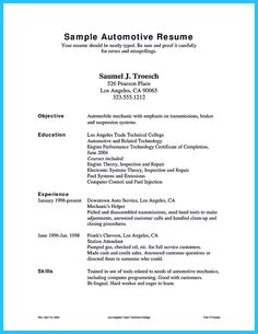 for some people particularly starters to write an auto mechanic resume often looks difficult - Sample Resume For Automotive Technician