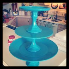 DIY dollar store cake/cupcake stand. This is the popular candle stick holder trick. Brilliant and inexpensive!!!