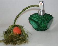 Czech Art Deco Schlevogt INGRID Malachite Glass Perfume Bottle Flacon Atomizer